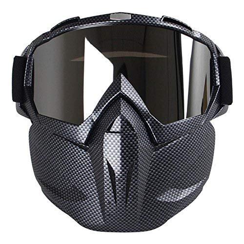 KOBWA - Gafas de sol para motocicleta, resistente al viento, con máscara, protección acolchada, para esquí, equitación, actividades al aire libre., Fibra de carbono