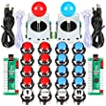 EG STARTS 2 Player Arcade Joystick Buttons Arcade Contest DIY Retropie Cabinet Kit PC Game + Chrome Plating LED 1 2 Player Coin Buttons Mame Raspberry Pi Game Project