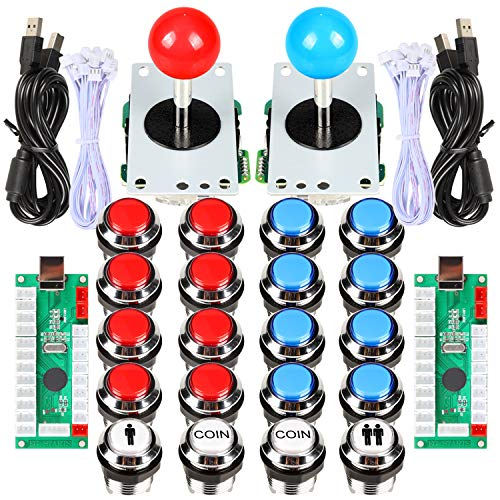 EG STARTS 2 Classic Arcade Contest Fai Te Cabinet Kit USB Encoder a Joystick spel voor PC + verchroomde LED-knop voor het maken van ladingen voor Mame Raspberry Pi Progetto spel