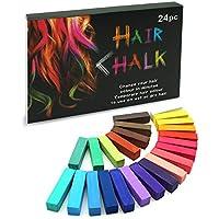 SYOSIN Tiza para el cabello, 24 colores temporales para el cabello, coloraciones para el cabello, colores profesionales y cerosos, para carnaval, fiesta, Navidad, cumpleaños de Halloween