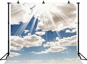 FHZON Backdrop 10x10ft Dark Blue Sky White Cloud Sunrise Backgrounds for Photography Nature Landscape Outdoor Travel Photo Booth Props FH135