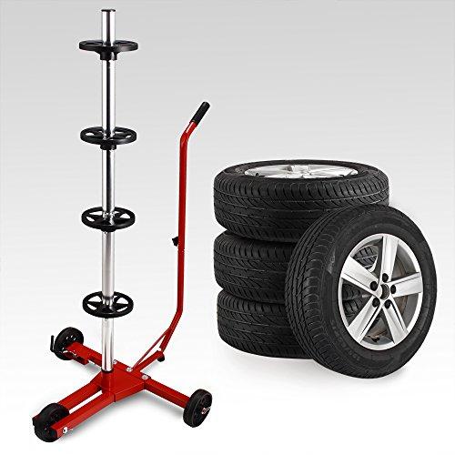 Felgenbaum 225 mm Alu fahrbar inkl. Schutzhülle 100kg belastbar 3 Rollen Felgenhalter Reifenständer Reifenhalter