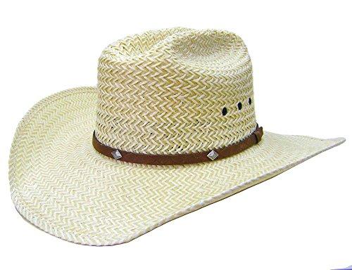 Modestone 2 Tone Straw Bangora Diamond Metal Conchos Hatband Chapeaux Cowboy 59 Beige