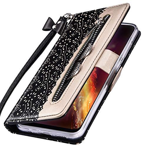 MoreChioce kompatibel mit Huawei Honor 9X Hülle,Galaxy 9X Pro Leder Wallet Case,Kreativ Schwarz Spitze Klapphülle Stand Flip Case Protective Brieftasche Handytasche Magnetische mit Kartenfach