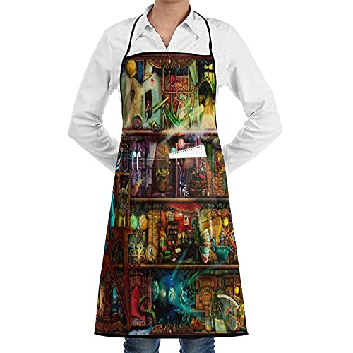 Apron with Pockets The Fantastic Voyage - A Steampunk Book Shelf,Waterproof Adjustable Chef Bib Apron for Kitchen BBQ Drawing Cooking