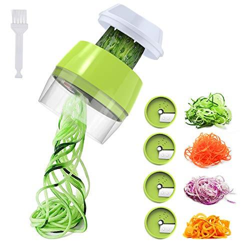 Aitsite Spiralizzatore di Verdure 4 in 1 Taglia Verdure a Spaghetti Affettaverdure e Mandolini da Cucina per Carota, Cetriolo, Patate, Zucca, zucchine, Cipolla