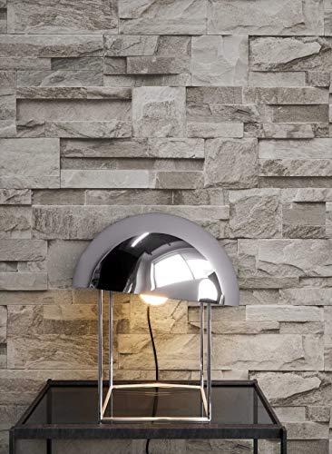 *Steintapete Vliestapete Grau , schöne edle Tapete im Steinmauer Design , moderne 3D Optik für Wohnzimmer, Schlafzimmer oder Küche inklusive der Newroom Tapezier Profibroschüre mit Tipps für perfekte Wände*