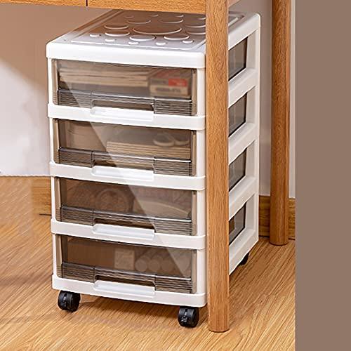 Cassettiera con rotelle sotto la scrivania, cassettiera portadocumenti sotto la scrivania, carrello portaoggetti, cassettiera in plastica, struttura bianca con cassetti trasparenti, rotelle, per l'h