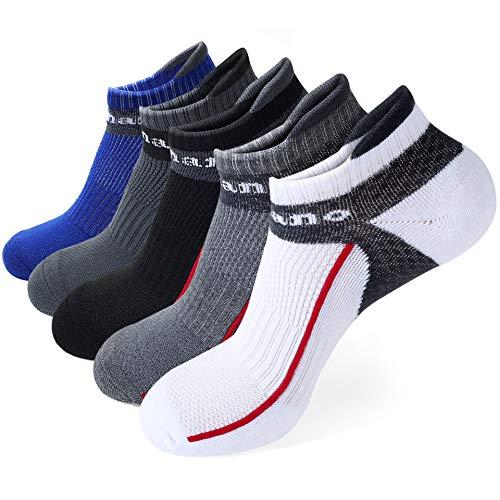 Aaronano Sneaker Socken Herren, 5er Pack Sportsocken mit Verstärkter Frotteesohle Laufsocken 38-43