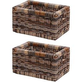 korb.outlet Lot de 2 corbeilles d'étagère solides avec tiroir en bois et tiroir en rotin véritable – 20 x 32 x 17 cm