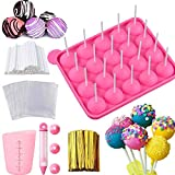 Cake Pop Maker Set - Silicone Lollipop Mold with Lollipop Sticks, Measuring Cup, Treat Bags, Twist Ties, Decorating Pen with 4 Piping Tips, Round Mold for Lollipop, Candy, Jelly, ice and Chocolate