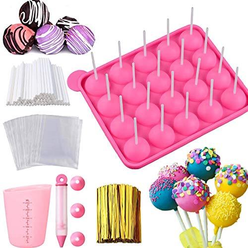 Cake Pop Maker Set - Silicone Lollipop Mold with Lollipop Sticks, Measuring Cup, Treat Bags, Twist...