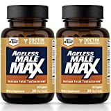 Ageless Male Max Total Testosterone Booster for Men – Increase Nitric Oxide and Improve Workouts, Reduce Fat Faster Than Exercise Alone, Support Sleep, Drive & Energy (120 Caplets, 2-Pack)