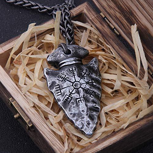 Herren Viking Compass Vegvisir Spear Anhänger Halskette, Nordic Runic Compass Symbol Totem Pagan Amulett, Handgefertigte Mode Gothic Style Skandinavischen Schmuck