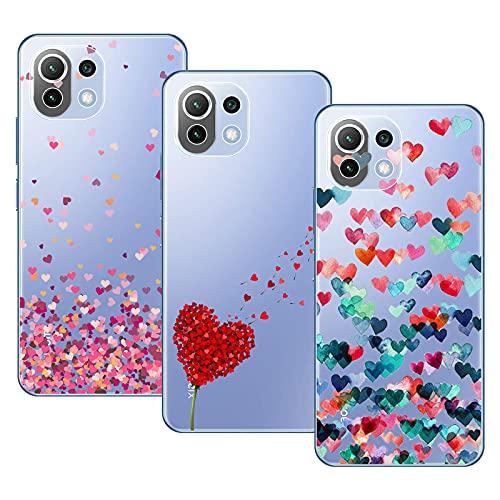 Young&Ming Compatible con Funda Xiaomi Mi 11 Lite 5G/4G, (3 Pack) Transparente TPU Carcasa Delgado Anti-Choques con Dibujo de Corazón