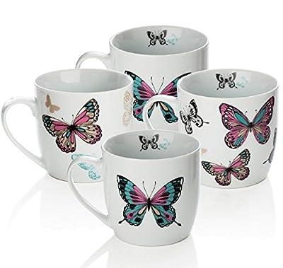 Sabichi Mariposa 4pc Porcelain Mug Set