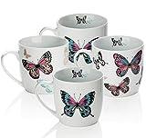 Sabichi–Taza, diseño de Mariposa Set, Multicolor, 4Piezas