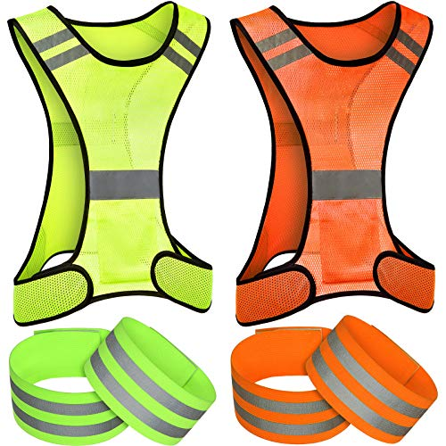 6 Pieces Reflective Vest Running Gear Set Include Safety Reflective Vest and Armband Adjustable Runner Safety Vest for Men Women Night Cycling Walking Bicycle Jogging (Orange, Green)