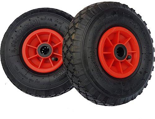 Frosal 2 x Rad Bollerwagen | 20 mm Achse | Ersatzrad Reifen Sackkarre | Sackkarrenrad Luftreifen Rollenlager Kugellager