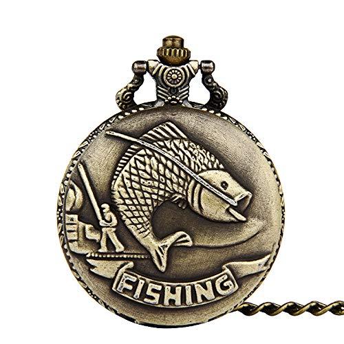 HeyBro Vintage Fisch-Taschenuhr Flip Cover Unisex Legierung Kette hängend Ornament Uhr rund Krankenschwester Uhr