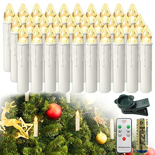 HENGMEI 30er LED Kerzen Weihnachtskerzen kabellos mit Fernbedienung und Batterie Christbaumkerzen Christbaumbeleuchtung Warmweiß Flammenlose Weihnachtsbeleuchtung für Weihnachtsbaum, Hochzeit, Partys
