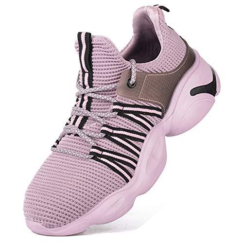 KAWAI Zapatos de Seguridad Hombre Mujer Ligeros Punta de Acero Calzado de Seguridad S3 Transpirable Zapatillas de Trabajo(2002/pink/40)