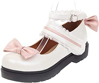 TAOFFEN Women Sweet Bow Lolita Shoes with Lace