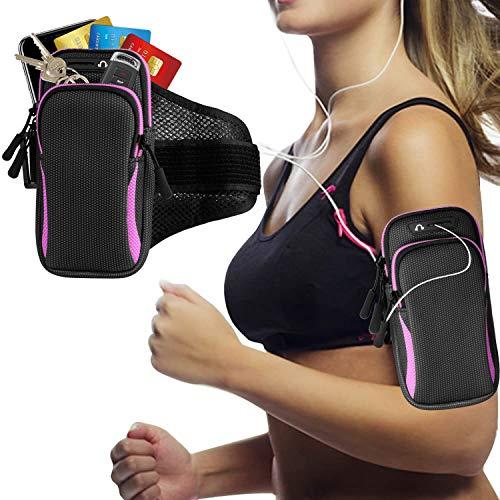 DONWELL Lauf-Armband für iPhone XS Max XR XS 8 7 6 Plus, Samsung S10 S9 S8 Plus S7 S6 A8 A7 A6 A5 schweißfreie Sportarmbandtasche Handy Halterung für Laufen, Joggen, Walken, Wandern
