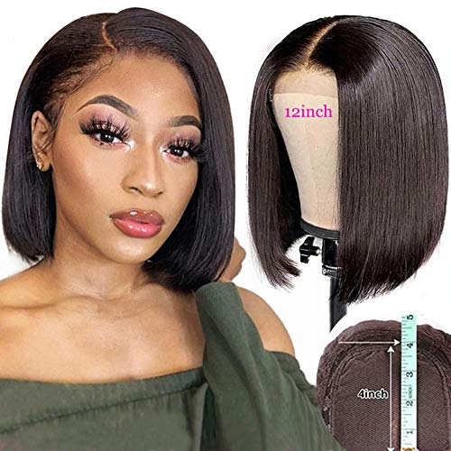 "Iwig Straight Short Bob Wigs 9A Lace Front Wigs Human Hair Unprocessed Virgin Brazilian Hair Wigs 150 Density Pre Plucked Hairline with Baby Hair for Black Women (8"", Straight Bob Wig)"