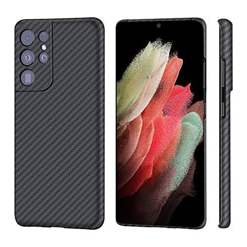 Sisyphy Schutzhülle für Samsung Galaxy S21 Ultra 17,3 cm (6,8 Zoll), aus echter Aramidfaser, weiche Haptik, robuste Carbon-Hülle, Snap-on-Rückseite, kabelloses Laden