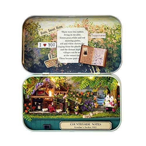 Rockyin DIY Mini House, DIY Miniatur Handgefertigte Box Puppenstuben Gute Alte Zeit Theme Mini Doll House (Rural)