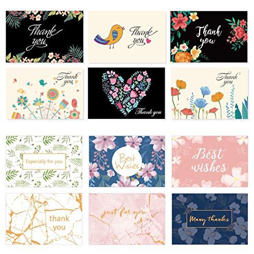 12 Stück Dankeskarten mit 40 Stück Umschlägen Danksagungskarten Grußkarten mit Umschlag Dankeschön Karten Geschenk für Hochzeit Schulabschlußfeier Erntedankfest Weihnachten
