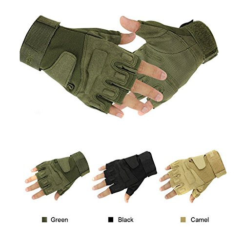 Simpleyourstyle Military Half-finger Fingerless Tactical Airsoft Hunting Riding Cycling Gloves camel-L