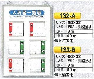 安全・サイン8 入坑一覧表 小タイプ 写真ケース式 壁掛け型 入坑・入槽:入槽者一覧表 132-B