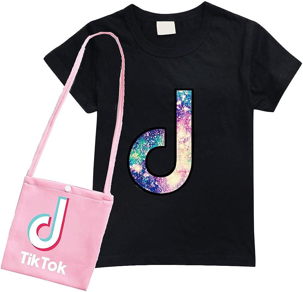 D.O.T Summer Sportswear TIK TOK Girls T-Shirt Round Neck top with Bag for Kids