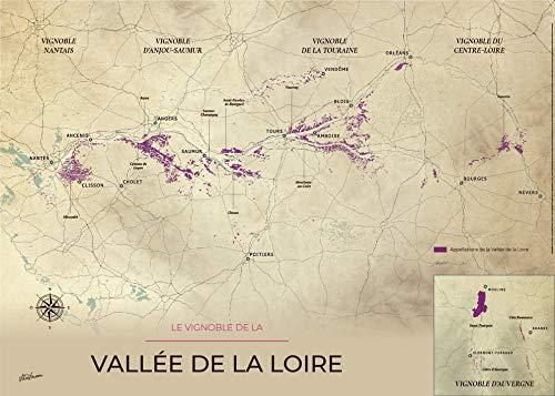 Gevinum wijn- en wijnkaart, uit de Tal van de Loire op een stevige houder. 140_x_100_cm Vintage.