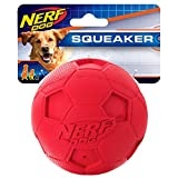 Nerf Dog Soccer Ball Dog Toy with Interactive Squeaker, Lightweight, Durable and Water Resistant, 4 Inches, for Medium/Large Breeds, Single Unit, Red