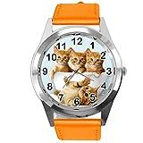 TAPORT® Montre à quartz avec bracelet en cuir orange