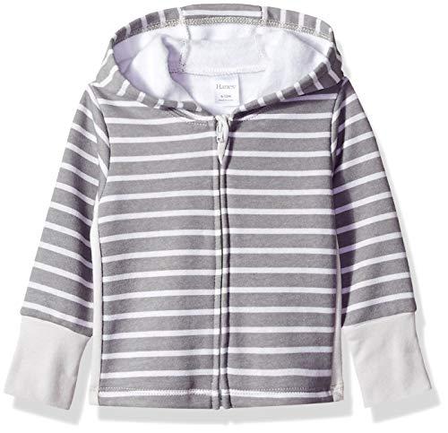 Hanes Ultimate Baby Zippin Fleece Hoodie, Grey Stripe, 6-12 Months