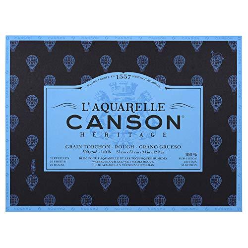 L'Aquarelle 23 x 31 cm 20 fogli 300 g Canson Héritage 4 lati incollati, bianco