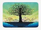 N\A Alfombra de baño de árbol, árbol en una Isla Flotante Azul, remolinos Coloridos, Arte temático mágico de Cuento de Hadas, Alfombra de Felpa para decoración de baño con Respaldo Antideslizante