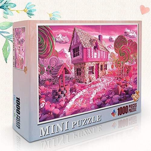Skwenp Juego de puzzle rompecabezas de madera de rosa, casa del caramelo Puzzle, 1000 Plano de rompecabezas, Adulto descompresión juego de puzzle rompecabezas, juguetes educativos for niños, regalos d