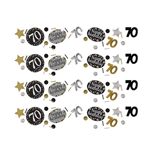 Amscan 361964 Celebration Confetti Konfetti 70 Silver & Gold, plastik, mehrfarbig