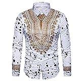 IMJONO Mens Shirts Herbst Herbst Casual afrikanischen Print Pullover Langarm T-Shirt Top Bluse(Medium,Weiß)