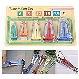 Juego de 5 cintas al bies (6 mm, 9 mm, 12 mm, 18 mm, 25 mm), cinta al bies, herramienta para coser y hacer manualidades