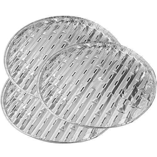 Fackelmann Grillschalen rund 33x1,5 cm 3 Stück aus Aluminium, silber, 33x15x2.5 cm, 42444