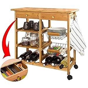 BAKAJI Carrello da Cucina in Legno di bambù con Ripiano Tagliere Cassetti Portaposate Porta Capsule caffè Portabottiglie…