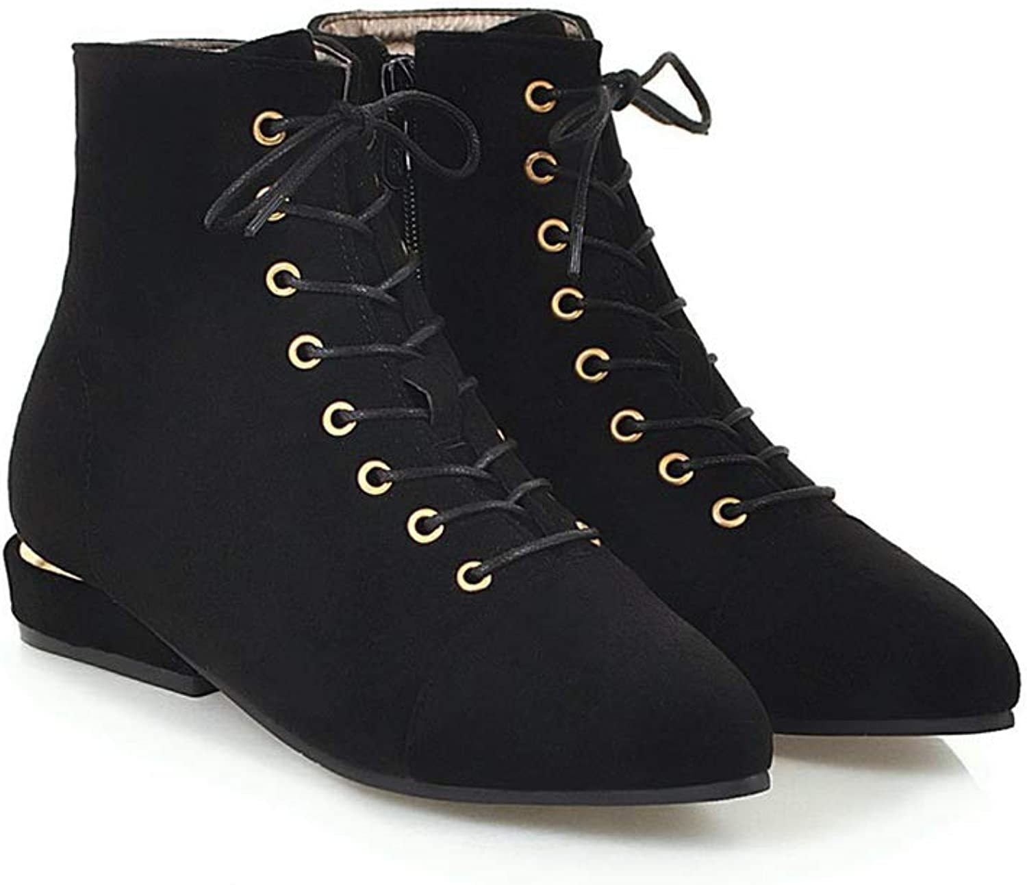 Sam Carle Women Boots, Fashion Solid color Lace Up Low Thick Heel Pointed Toe Ankle Boots