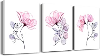 Modern Pink Flowers Canvas Wall Art for Bedroom Living Room,Bathroom Wall Decor,3 Panels Wall Painting Home Decoration Kitchen Canvas Print Abstract Watercolor Flowers and Leaves Artwork Wall Mural