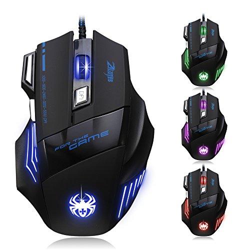 [T80 Dland Zelotes Professionelle optische LED-Maus mit 7.200DPI, 7Tasten und USB-Kabel, für Gamer – Verstellbarer DPI-Schalter 7.200/3.200/2.400/1.600/1.000 DPI für Pro-Game-Notebook-Computer